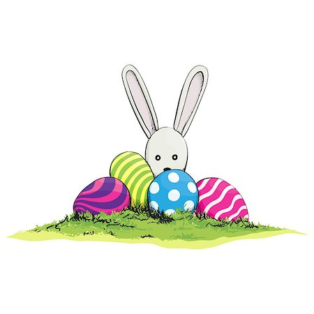 scalable - Cute easter rabbit with egg on green grass Stock Photo - Budget Royalty-Free & Subscription, Code: 400-07461567