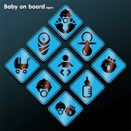 Flat baby on board sign set - vector illustration Stock Photo - Budget Royalty-Free & Subscription, Code: 400-07462233