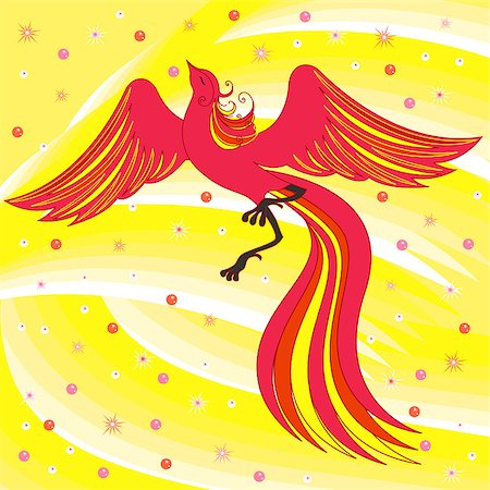 frbird - Beautiful graceful red firebird on abstract background with yellow shades. Hand drawing vector illustration Stock Photo - Budget Royalty-Free & Subscription, Code: 400-07462464