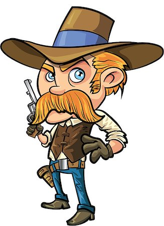 Cute cowboy cartoon with mustache. Isolated Stock Photo - Budget Royalty-Free & Subscription, Code: 400-07462775