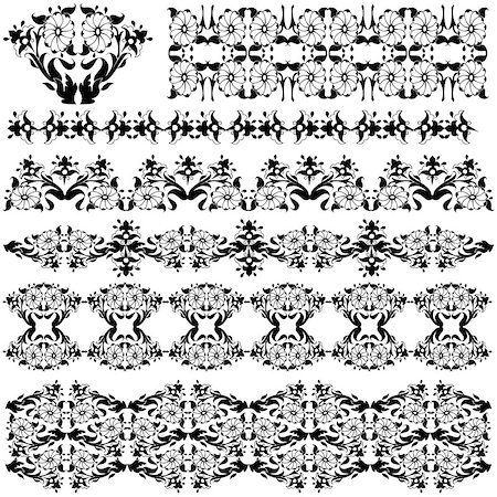 flower drawings black - Elegant Floral Design Elements editable vector illustration Stock Photo - Budget Royalty-Free & Subscription, Code: 400-07463922