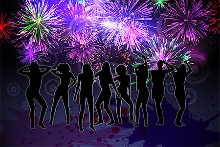 pink and purple fireworks - Digitally generated nightlife background with people dancing and fireworks Stock Photo - Budget Royalty-Free & Subscription, Code: 400-07477177