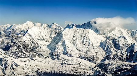 Himalayas mountains Everest range panorama aerial view with Mt. Everest, Nepal Stock Photo - Budget Royalty-Free & Subscription, Code: 400-07477620