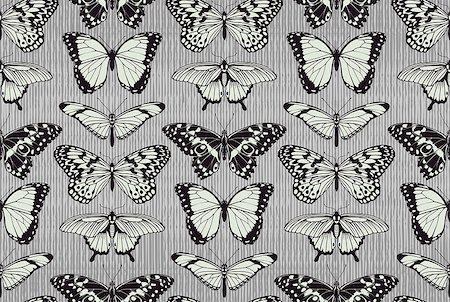 A seamless tiling repeating butterfly pattern background with beautiful butterflies Stock Photo - Budget Royalty-Free & Subscription, Code: 400-07477673