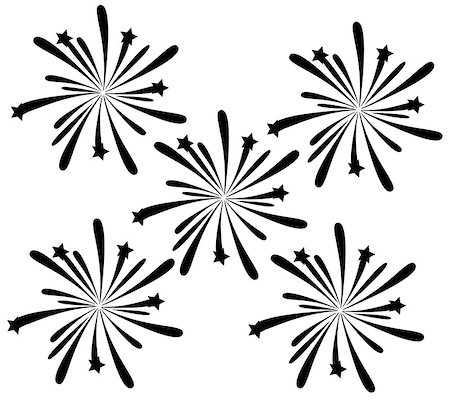 firework illustration - vector black fireworks Stock Photo - Budget Royalty-Free & Subscription, Code: 400-07478598