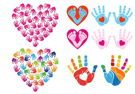 handprint hearts, set of vector design elements Stock Photo - Budget Royalty-Free & Subscription, Code: 400-07472750