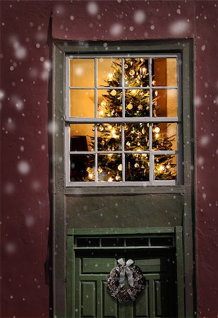 Christmas tree seen outside of a window, snowfall background Stock Photo - Budget Royalty-Free & Subscription, Code: 400-07473026