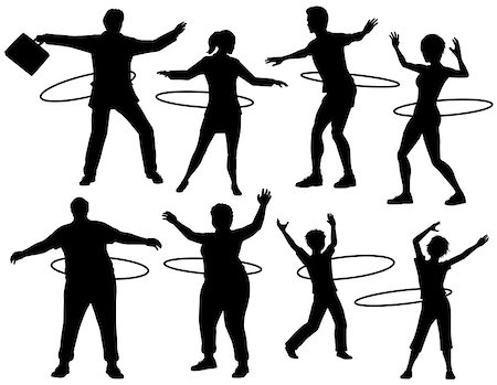 fat man exercising - Set of editable vector silhouettes of people exercising with a hula hoop with figures and hoops as separate objects Stock Photo - Budget Royalty-Free & Subscription, Code: 400-07485989