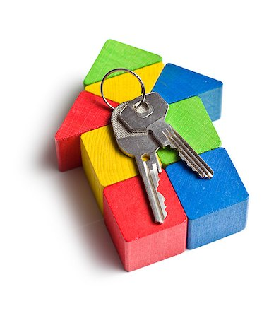 education loan - the house made from wooden toy blocks with keys Stock Photo - Budget Royalty-Free & Subscription, Code: 400-07481504
