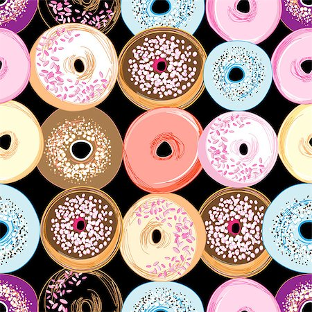seamless - bright seamless graphic pattern of different donuts on a dark background Stock Photo - Budget Royalty-Free & Subscription, Code: 400-07482743