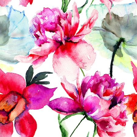 pattern paeonia - Seamless pattern with Popy and Peony flowers, Watercolor painting Stock Photo - Budget Royalty-Free & Subscription, Code: 400-07498565