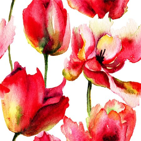 seamless floral - Seamless wallpaper with Tulips flowers, watercolor illustration Stock Photo - Budget Royalty-Free & Subscription, Code: 400-07498612