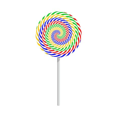 red circle lollipop - Colorful striped lollipop isolated on a white background. Vector-art illustration Stock Photo - Budget Royalty-Free & Subscription, Code: 400-07498704