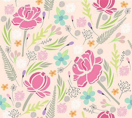 peony in vector - Seamless floral pattern. Background with flowers and leafs. Stock Photo - Budget Royalty-Free & Subscription, Code: 400-07498777