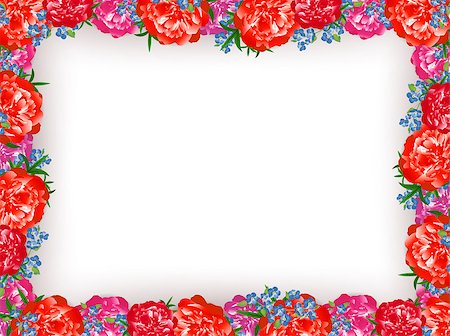 peony illustrations - Floral Peony Frame Over White Background, Copyspace Stock Photo - Budget Royalty-Free & Subscription, Code: 400-07499049