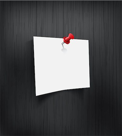White blank paper attached with red pin on black background. Vector illustration Stock Photo - Budget Royalty-Free & Subscription, Code: 400-07499421