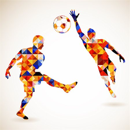 Silhouette Soccer Player and Goalkeeper in Mosaic Pattern, vector illustration Stock Photo - Budget Royalty-Free & Subscription, Code: 400-07499439