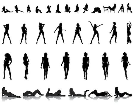 Black silhouettes of beautiful girls in various poses, vector Stock Photo - Budget Royalty-Free & Subscription, Code: 400-07499732