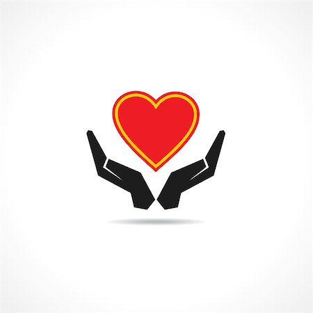 Hand protecting a heart icon vector Stock Photo - Budget Royalty-Free & Subscription, Code: 400-07504211