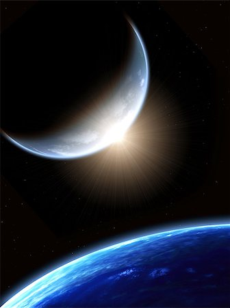 A beautiful space scene with two planets and sun Stock Photo - Budget Royalty-Free & Subscription, Code: 400-07505105