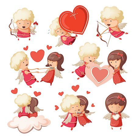 flying heart girl - Set of cute boy and girl cupids. Vector Stock Photo - Budget Royalty-Free & Subscription, Code: 400-07506413