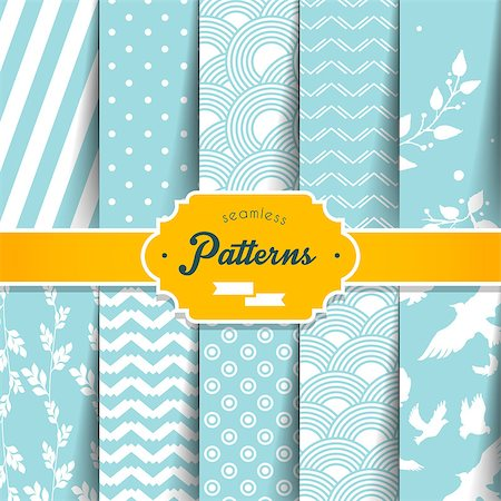 seamless floral - Vector illustration (eps 10) of Seamless patterns set Stock Photo - Budget Royalty-Free & Subscription, Code: 400-07507264