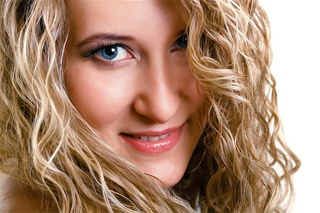 pzromashka (artist) - portrait of a beautiful young girl with long blond wavy hair. isolated on white Stock Photo - Budget Royalty-Free & Subscription, Code: 400-07508238