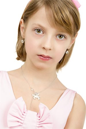Studio portrait of young beautiful girl with nice eyes on white background Stock Photo - Budget Royalty-Free & Subscription, Code: 400-07509446