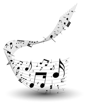 Musical note staff. EPS 10 vector illustration without transparency. Stock Photo - Budget Royalty-Free & Subscription, Code: 400-07501065