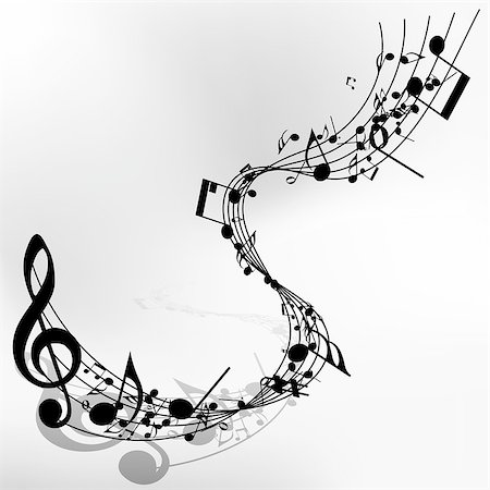 Musical note staff. EPS 10 vector illustration without transparency. Stock Photo - Budget Royalty-Free & Subscription, Code: 400-07501066