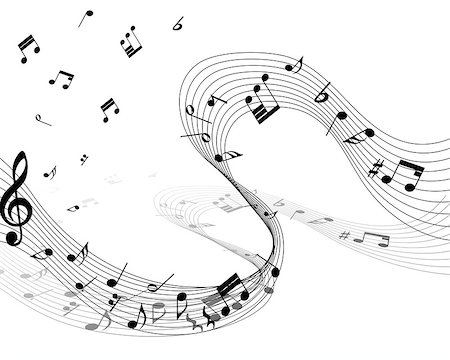 Musical note staff. EPS 10 vector illustration without transparency. Stock Photo - Budget Royalty-Free & Subscription, Code: 400-07501063