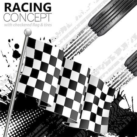 Racing Concept - Flags, Tires and Tracks, grunge vector background Stock Photo - Budget Royalty-Free & Subscription, Code: 400-07502025