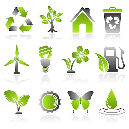Collect Environment Icon with Tree, Leaf, Light Bulb, Recycling Symbol, vector isolated on white background Stock Photo - Budget Royalty-Free & Subscription, Code: 400-07502037