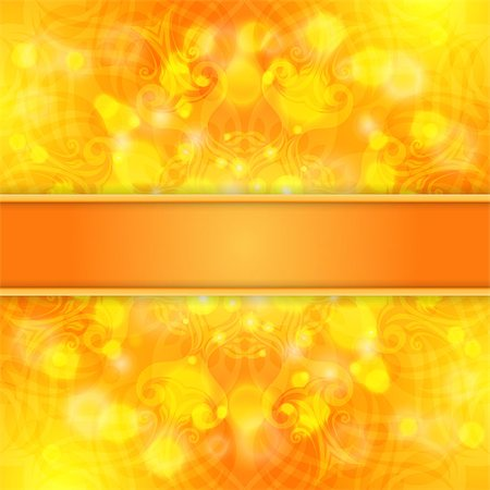 Elegant orange ornate background with lace ornament and ribbon for invitations, greeting card, menu. Vector EPS 10. Stock Photo - Budget Royalty-Free & Subscription, Code: 400-07514817