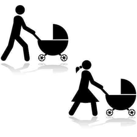 Icon set showing a man and a woman pushing a stroller around Stock Photo - Budget Royalty-Free & Subscription, Code: 400-07515028