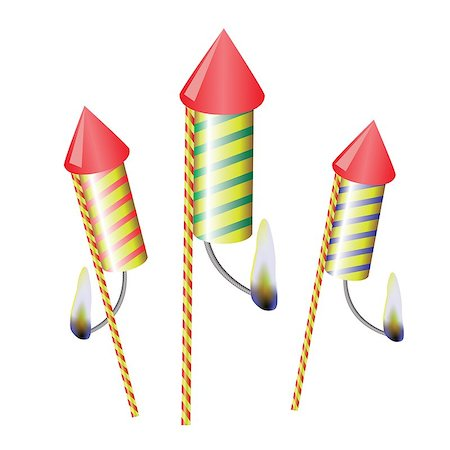 firework illustration - colorful illustration with petards on a white  background for your design Stock Photo - Budget Royalty-Free & Subscription, Code: 400-07515403