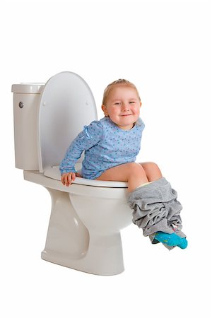 the little girl is sitting on toilet Stock Photo - Budget Royalty-Free & Subscription, Code: 400-07515440