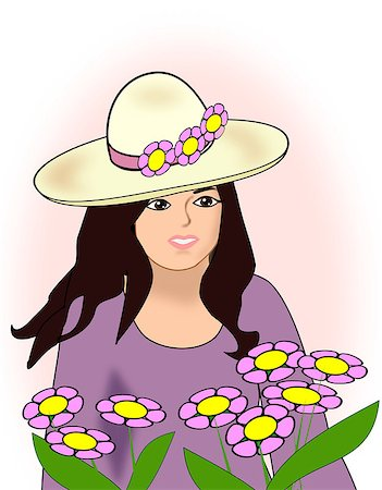 A young girl with a wide-brimmed hat. Stock Photo - Budget Royalty-Free & Subscription, Code: 400-07515635
