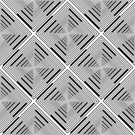 simsearch:400-04476890,k - Design seamless monochrome rhombus stripy pattern. Abstract geometric textured background. Vector art Stock Photo - Budget Royalty-Free & Subscription, Code: 400-07515861