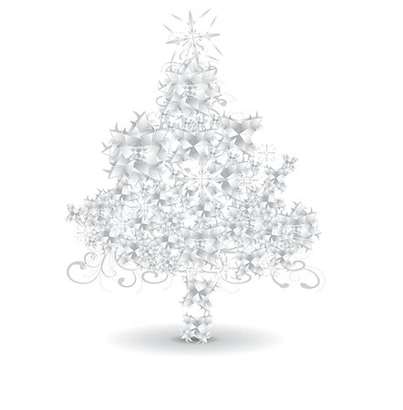 party paper falling - Paper snowflaks Christmas tree Stock Photo - Budget Royalty-Free & Subscription, Code: 400-07515926