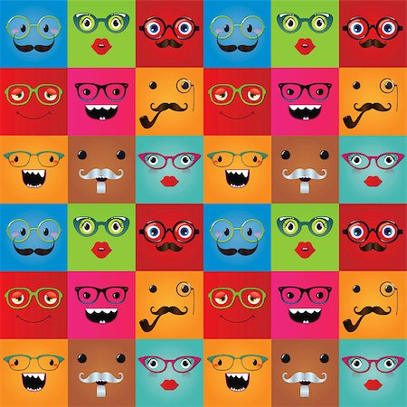 Funny hipster monster face expressions seamless background. Vector illustration. Pattern, texture Stock Photo - Budget Royalty-Free & Subscription, Code: 400-07516221