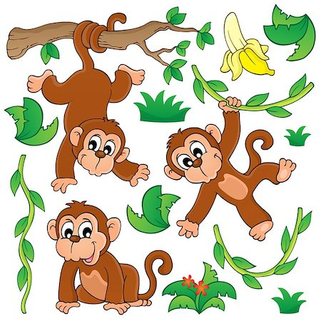 Monkey theme collection 1 - eps10 vector illustration. Stock Photo - Budget Royalty-Free & Subscription, Code: 400-07516556