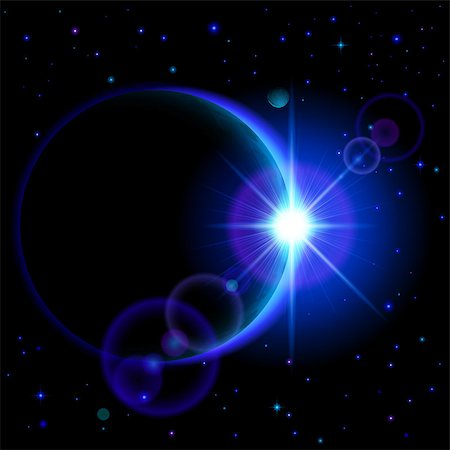Space background. Dark planet with blue radiance and bright flare among stars and other planets Stock Photo - Budget Royalty-Free & Subscription, Code: 400-07516807