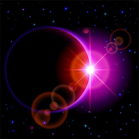 Space background. Dark planet with purple radiance and bright flare among stars and other planets Stock Photo - Budget Royalty-Free & Subscription, Code: 400-07516801