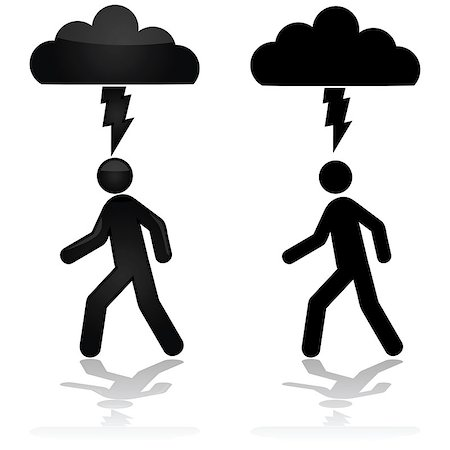 Concept illustration showing a person walking under a cloud with a lightning bolt Stock Photo - Budget Royalty-Free & Subscription, Code: 400-07517127