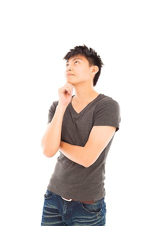 young man thinking or doubt on a white background Stock Photo - Budget Royalty-Free & Subscription, Code: 400-07518022