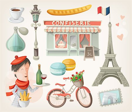 Set of elements, famous buildings and decorations from Paris, France Stock Photo - Budget Royalty-Free & Subscription, Code: 400-07510512