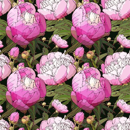 pattern paeonia - Seamless flower pattern .Vector illustration. Stock Photo - Budget Royalty-Free & Subscription, Code: 400-07510557