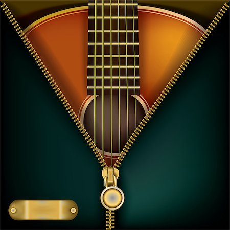 abstract music green background with guitar and open zipper Stock Photo - Budget Royalty-Free & Subscription, Code: 400-07510741
