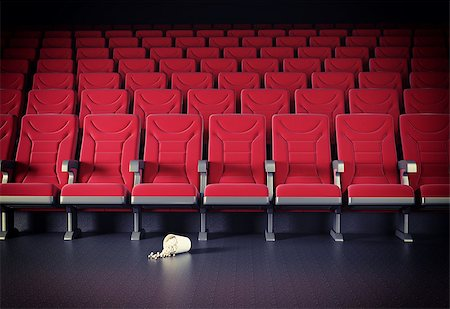 cinema interior and popcorn on the floor. cretive concept Stock Photo - Budget Royalty-Free & Subscription, Code: 400-07510884